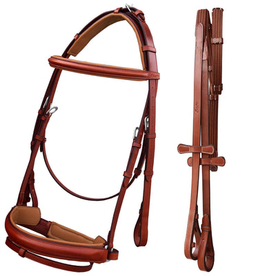 English Bridles-ExionPro Buckle Crown piece Dressage Bridle with Rein-Bridles and Reins