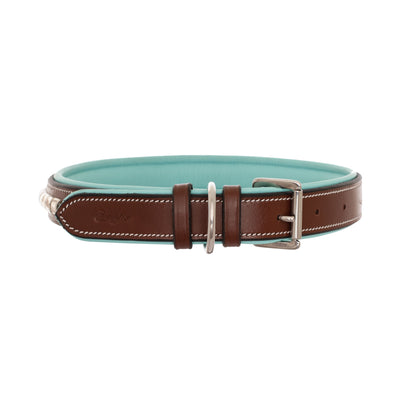 ExionPro Silver Clincher Padded Leather Dog Collar - Sky Blue Padding-Bridles & Reins