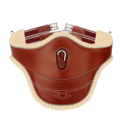 ExionPro Thick Lined Fancy Belly Guard Girth With Burgundy Elastic with White Lines-Bridles & Reins