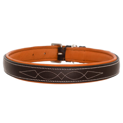 ExionPro Fancy Stitched Padded Leather Dog Collar - Conker Padding-Bridles & Reins