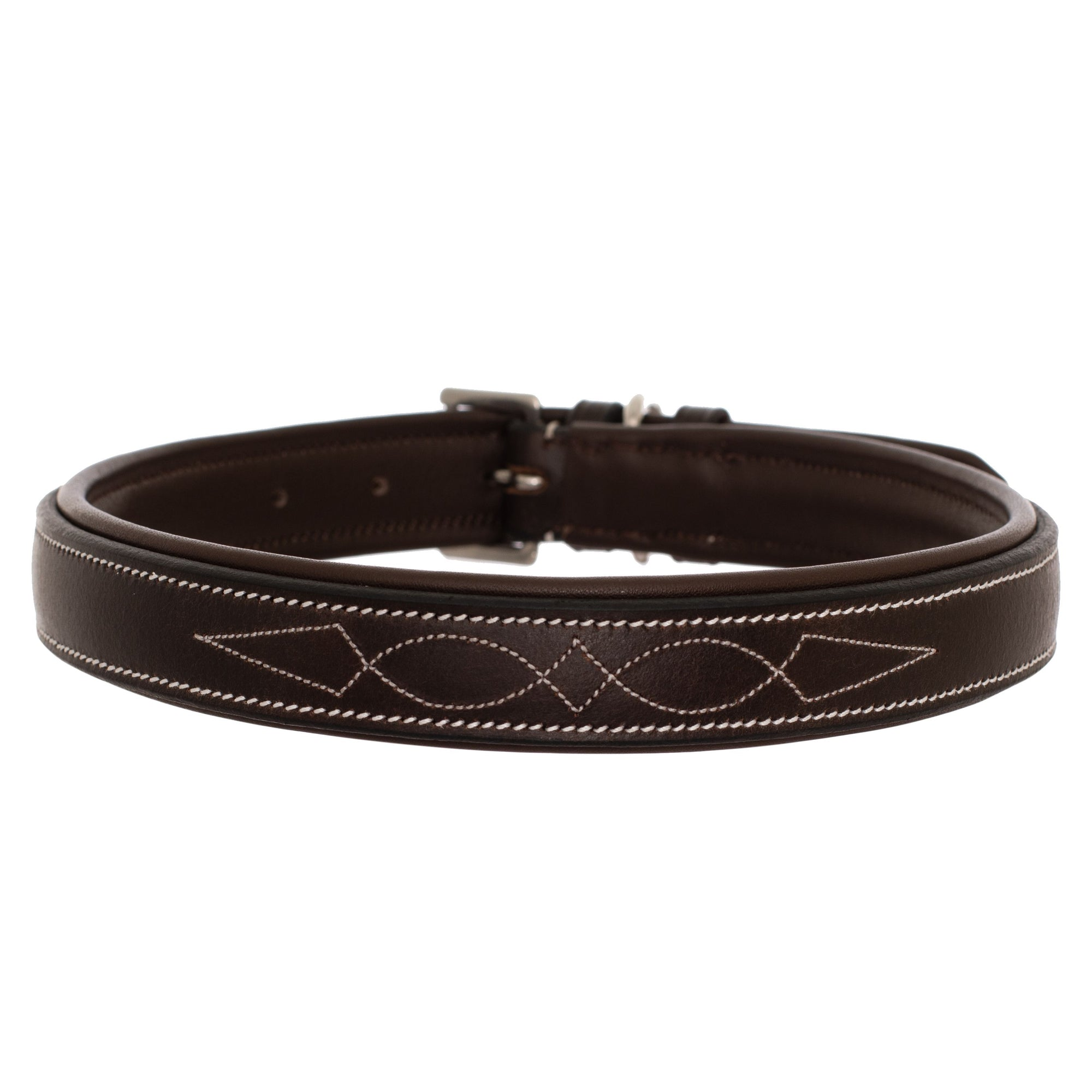 ExionPro Fancy Stitched Padded Leather Dog Collar - Havana Padding-Bridles & Reins