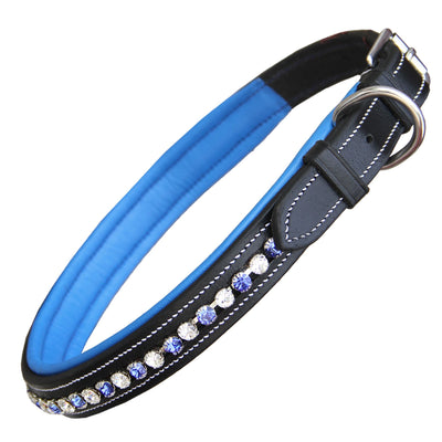 ExionPro White & Blue Bling Dog Collar-Bridles & Reins