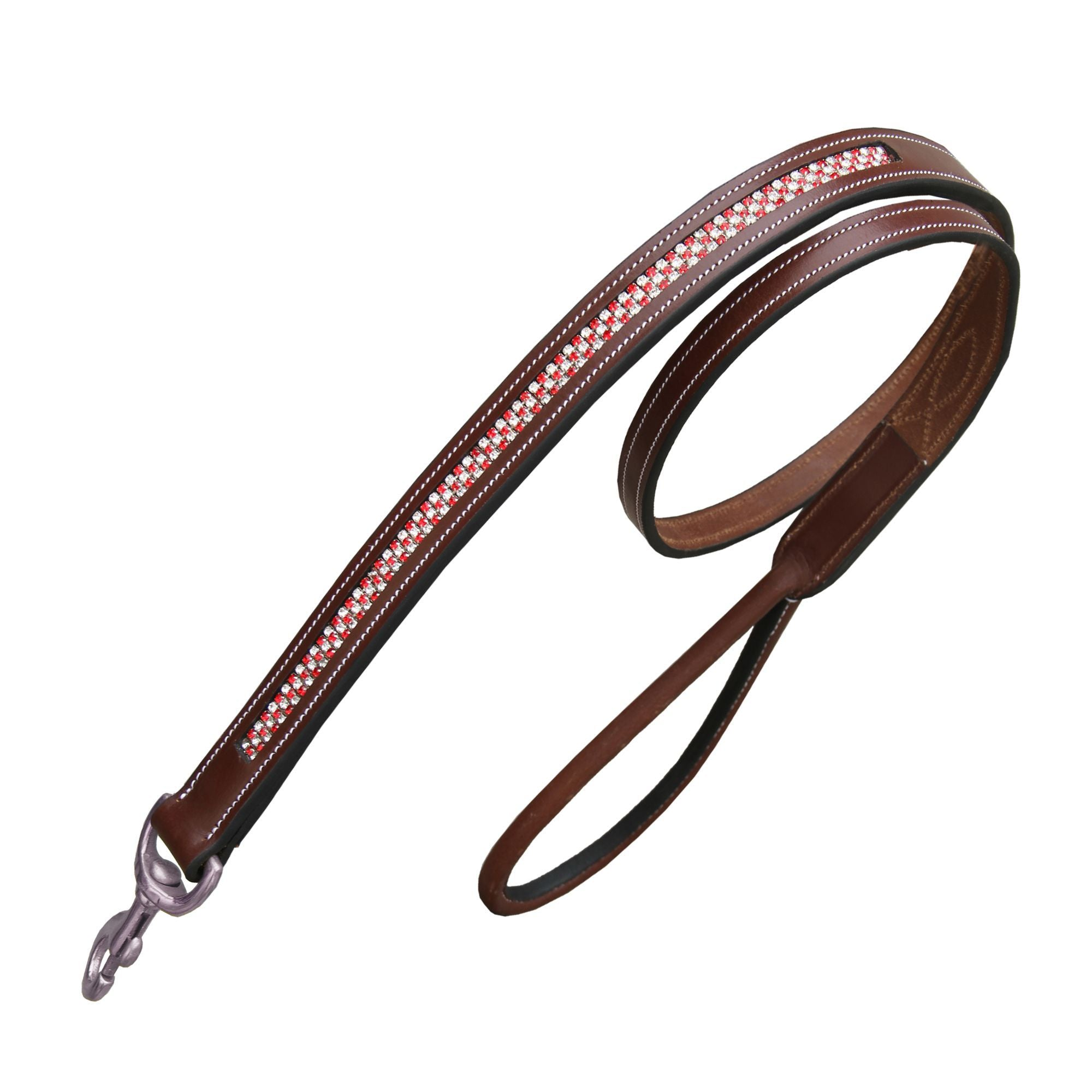 ExionPro Red Bling Padded Dog Lead-Bridles & Reins