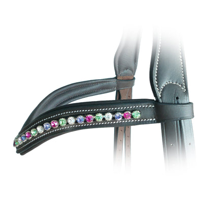 ExionPro Elegant Soft Padded Peridot, Fuchsia, Tanzanite, Clear Crystal Browband-Bridles & Reins