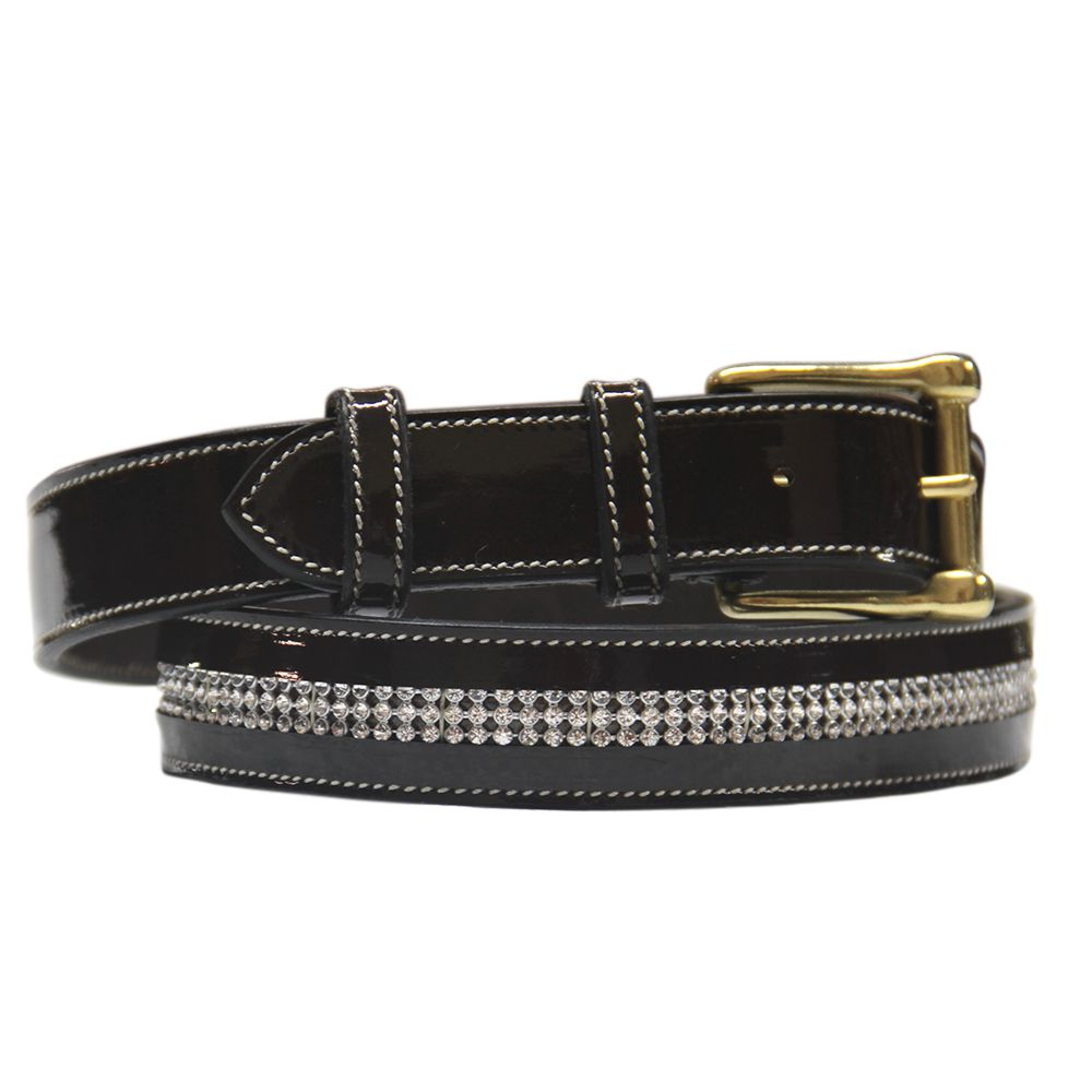 ExionPro Full Diamond Glossy Leather Belt-Bridles & Reins