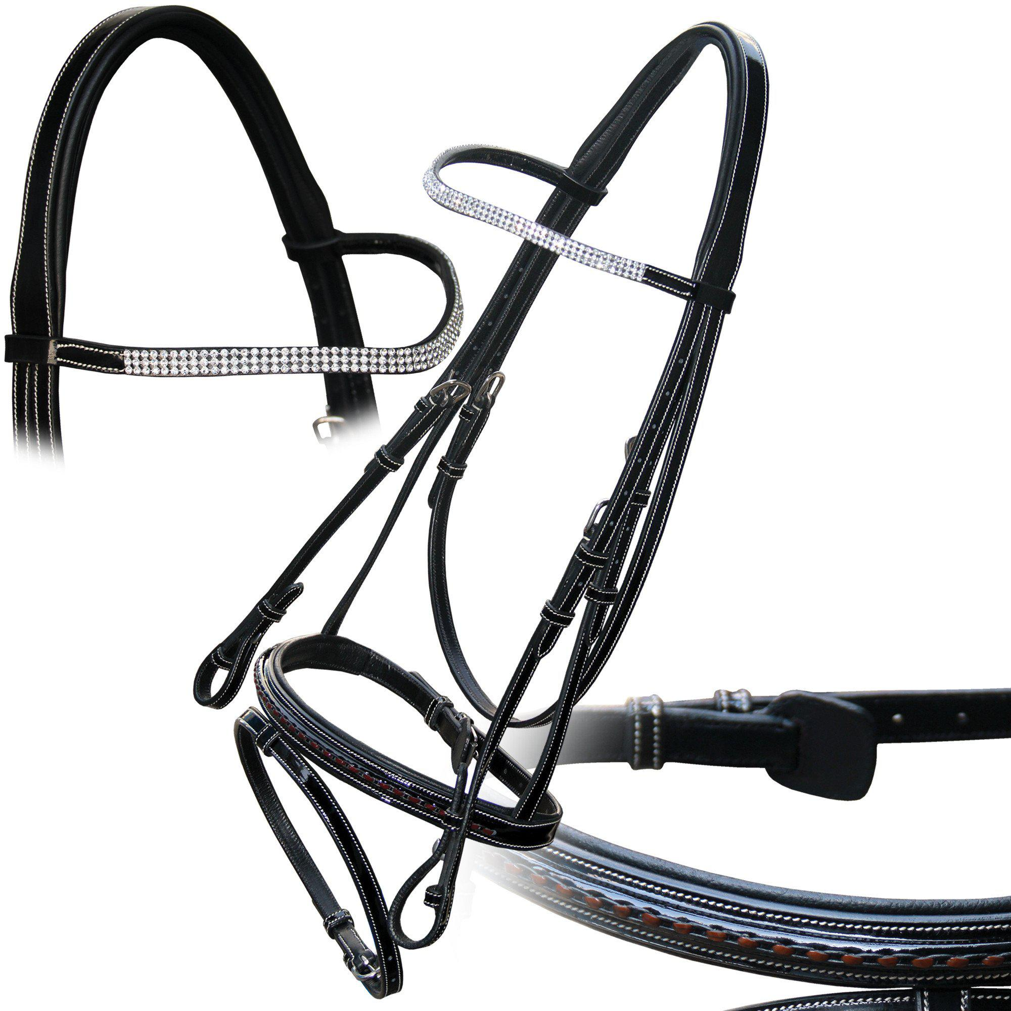 Royal Glossy Leather Diamonds & Braided Bridle with Reins