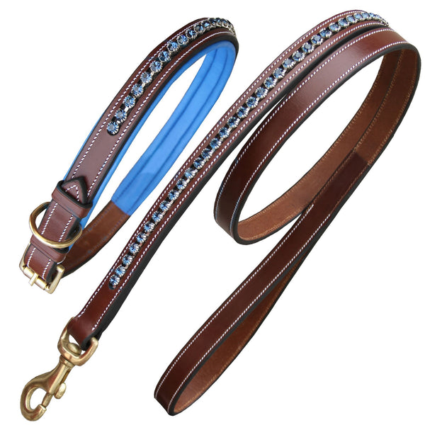 Royal Dark Blue Diamond Dog Collar With Lead.