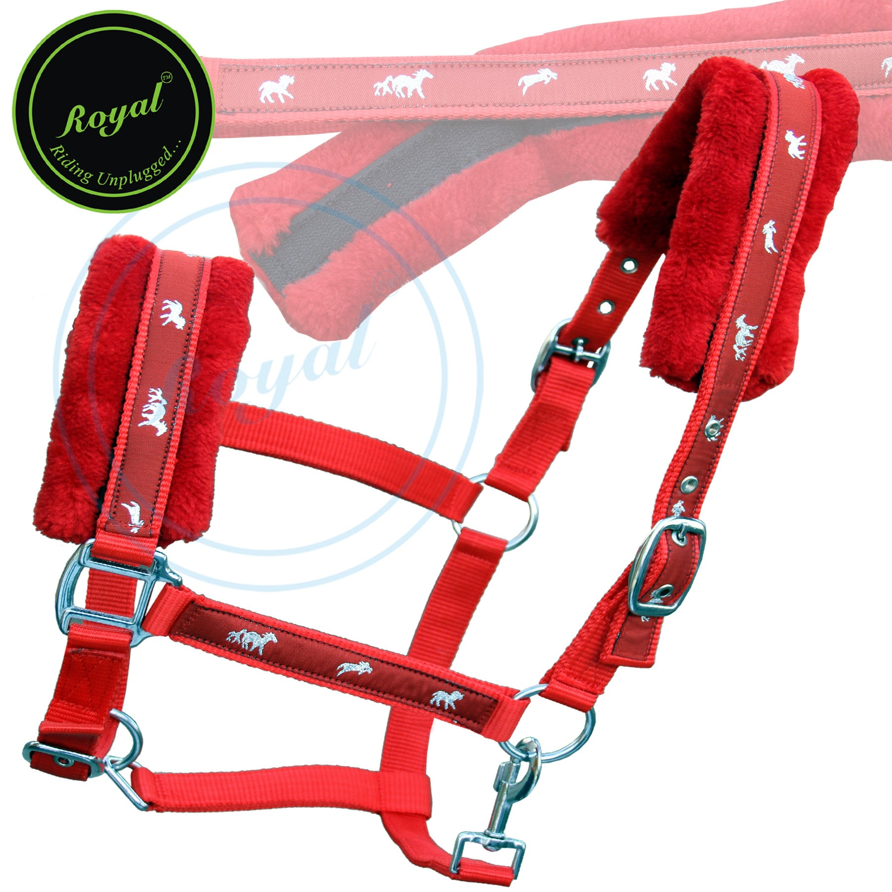Fancy Horse Halters-Fleece Padded Comfort Nylon Halters-Bridles & Reins