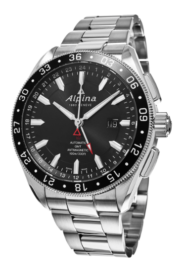 Alpiner 4 Automatic GMT - black dial stainless band