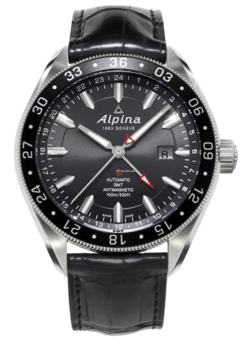 Alpiner 4 Automatic GMT - black dial leather band