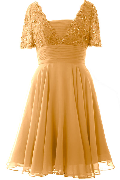 MACloth Women Mother of Bride Dress Short Sleeves Lace Wedding Party Formal Gown