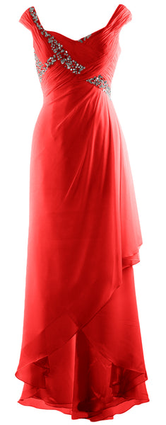 MACloth Plus Size Prom Dresses High Low V Neck Wedding Party Formal Evening Gown