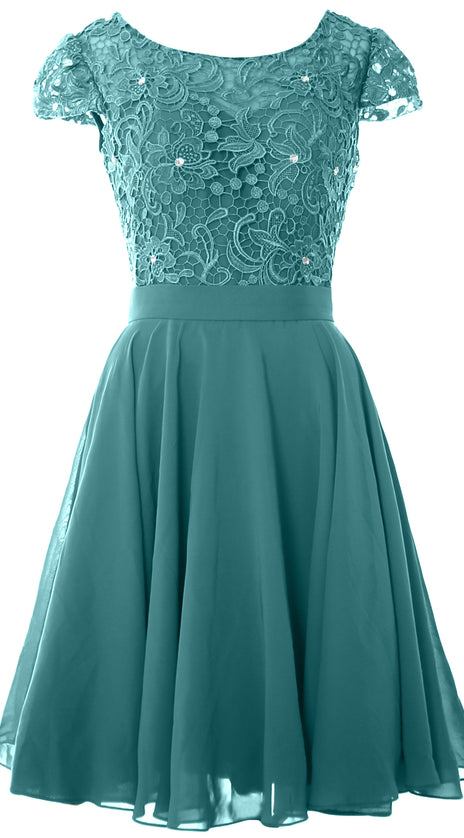 MACloth Women Short Cap Sleeve Lace Wedding Bridesmaid Mother Dresses Homecoming