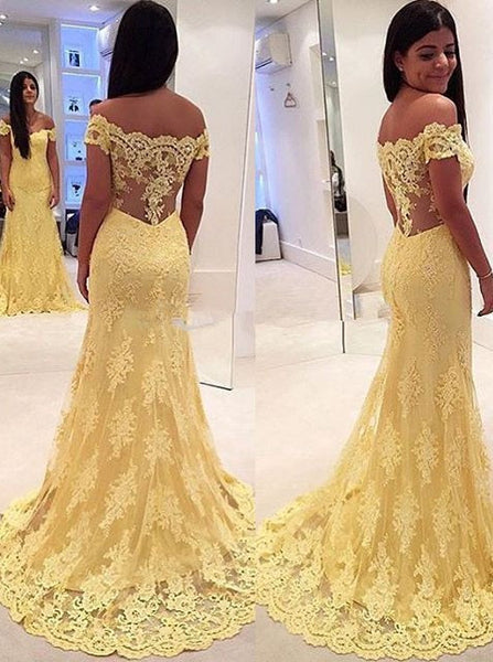 MACloth Off the Shoulder Mermaid Lace Yellow Prom Dress Evening Formal Gown Wedding Party Gown