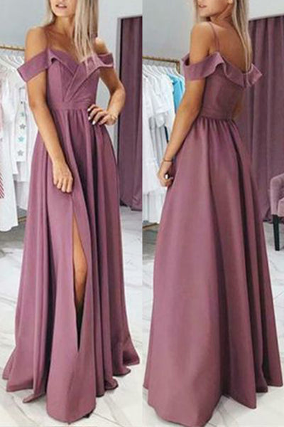MACloth Off the Shoulder Pink Long Prom Dress Satin Formal Evening Gown