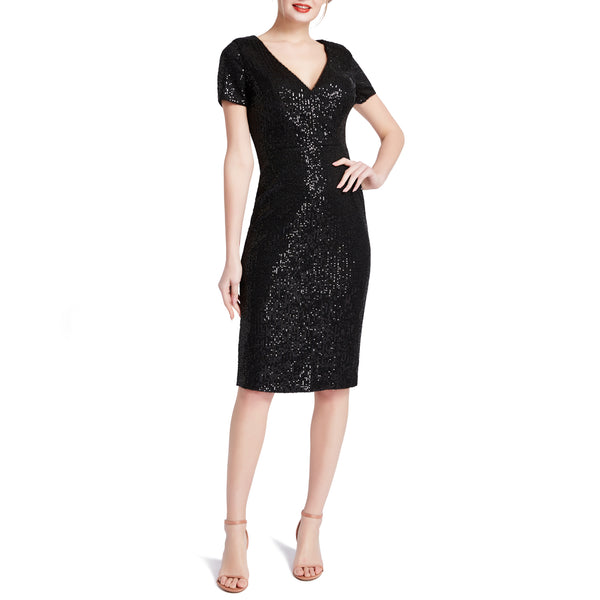 MACloth Women V Neck Short Sleeves Knee Length Sequin Casual Cocktail Dresses