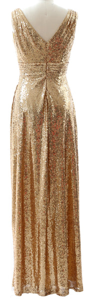 MACloth Women Bridesmaid Dresses V Neck Sleeveless Sequin Formal Evening Gown