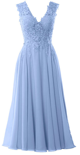 MACloth Women V Neck Lace Mother Bride Dresses Midi Tea Length Wedding Dinner