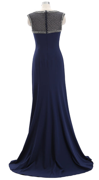 MACloth Women Cap Sleeves Beaded Mother of the Bride Gown Formal Evening Gown