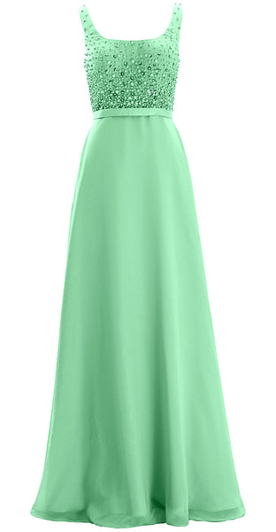 MACloth Women Straps Scoop Neck Beaded Formal Evening Gown 2019 Long Prom Dress