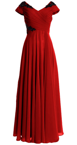 MACloth Women Mother of the Bride Dresses Cap Sleeves V Neck Formal Evening Gown