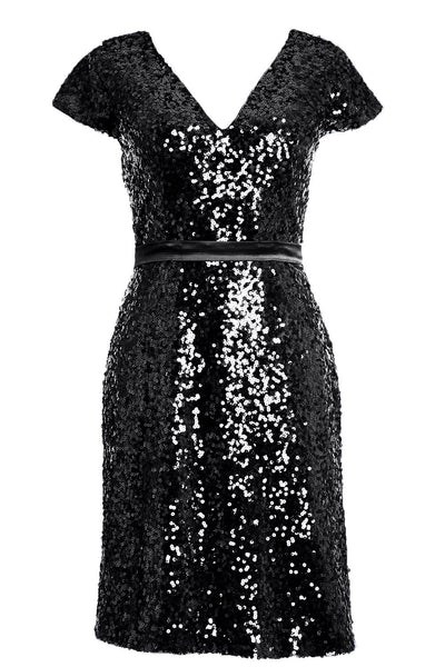 MACloth Elegant Cap Sleeve Sequin Bridesmiad Dress Cocktail Party Dresses LBD