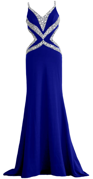 MACloth Women Long V Neck Sexy Mermaid Prom Party Dress Formal Evening Ball Gown