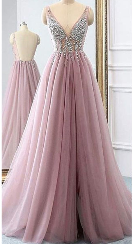 MACloth A Line V Neck Beaded Long Tulle Prom Dress Dusty Pink Formal Evening Gown