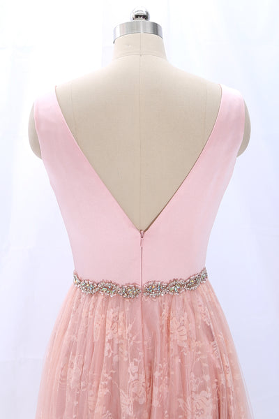 MACloth Straps V Neck Lace Satin Pink Prom Dress Formal Evening Gown