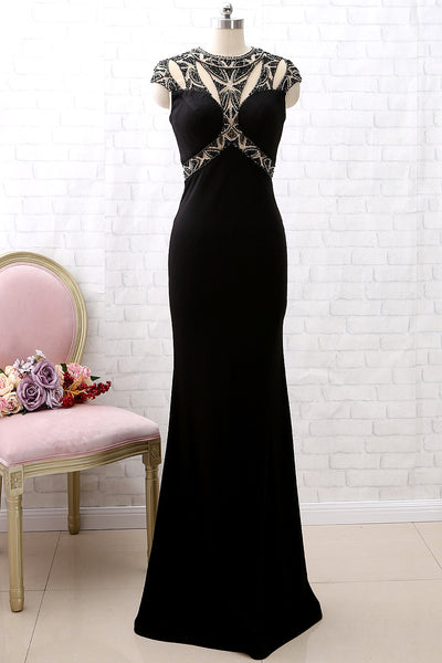 MACloth Cap Sleeves Beaded Sheath Black Prom Dress Luxury Formal Evening Gown