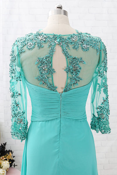 MACloth 3/4 Sleeves Lace Chiffon Long Mother of the Brides Dress Turquoise Evening Gown