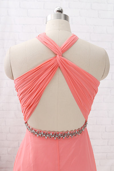 MACloth Halter Crystals Chiffon Long Prom Dress Coral Bridesmaid Dress
