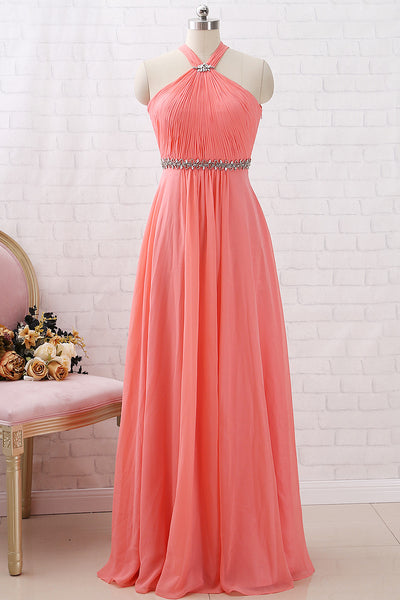 MACloth Halter Crystals Chiffon Long Prom Dresses