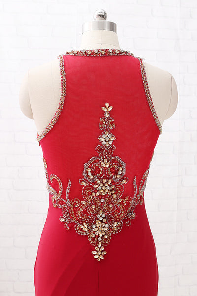 MACloth Straps O Neck with Beaded Jersey Prom Dress Burgundy Formal Evening Gown with Slit