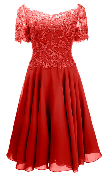MACloth Women Short Sleeves Formal Gown V Neck Lace Midi Mother of Bride Dress