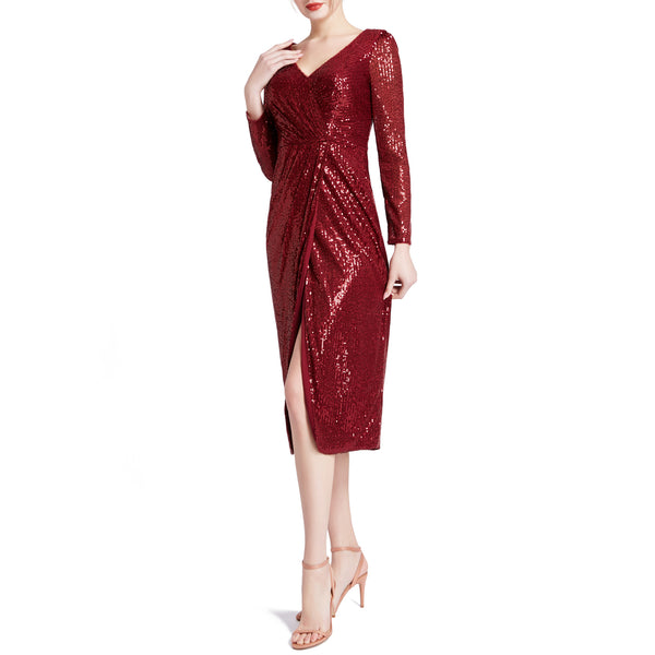 MACloth Women Long Sleeves V Neck Ruched Wrap Sequin Cocktail Dresses