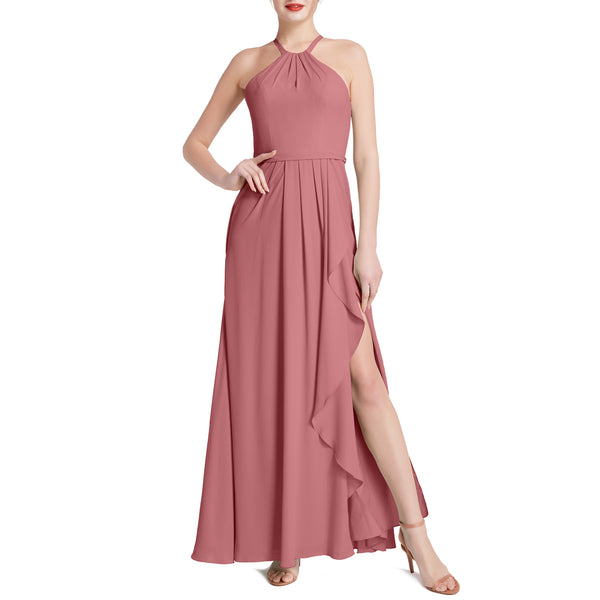 MACloth Women Halter Long Maxi Wedding Party Bridesmaid Dresses with Drape Slit