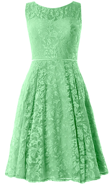 MACloth Women Lace Cocktail Dresses Vintage Short Wedding Party Guest Mother