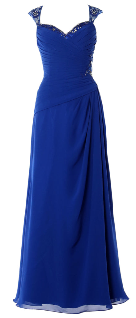 MACloth Women Cap Sleeves Long Mother of Bride Dress Open Back Party Formal Gown