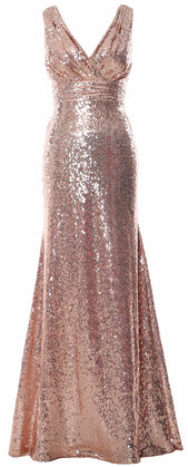 MACloth Women Mermaid V Neck Maxi Sequin Wedding Party Dresses Bridesmaid Prom