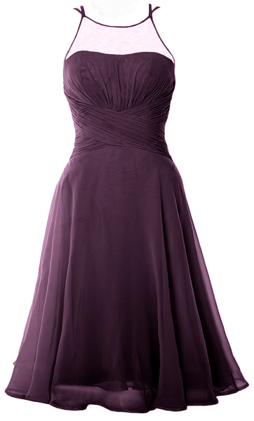 MACloth Elegant Illusion Short Cocktail Dress Chiffon Wedding Party Formal Gown
