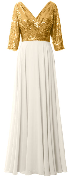 MACloth Women Long Sleeve V Neck Long Sequin Mother of Bride Dresses Maxi Gown