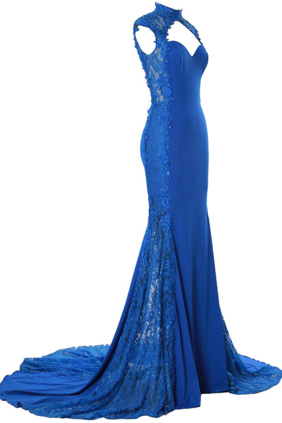 MACloth Women Prom Dresses Mermaid High Neck Sleeveless Lace Formal Evening Gown