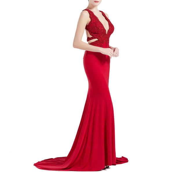 MACloth Women Mermaid V Plunging Neck Lace Long Prom Dresses Formal Evening Gown