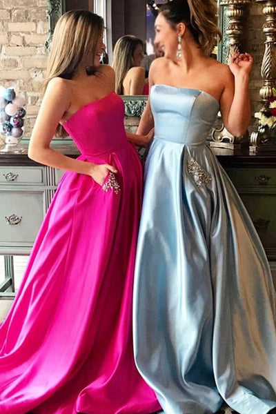 MACloth Strapless Ball Gown Long Prom Dress Champagne Formal Evening Gown