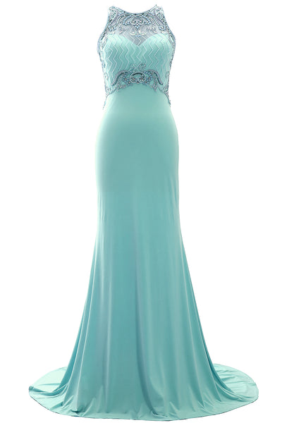 MACloth Women 2019 O Neck Beaded Formal Evening Gown Jersey Long Prom Dress Gala