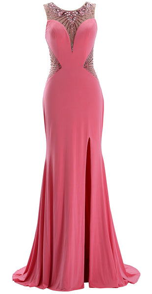 MACloth Women Long Beaded Formal Evening Gown Jersey Prom Dress Pageant Gala