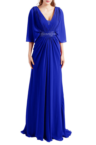 MACloth Women Elegant Long V Neck Mother of Bride Dresses Evening Gown Sleeves