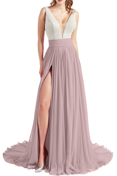 MACloth Women V Neck Long Prom Dresses Sleeveless Formal Evening Gown with Slit