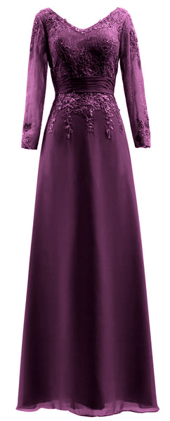 MACloth Mother of Bride Dresses Long Sleeves V Neck Lace Formal Evening Gown